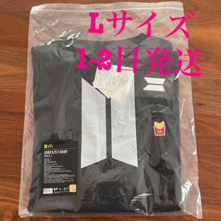 ボウダンショウネンダン(防弾少年団(BTS))のBTS マック マクドナルド Tシャツ 黒 L(Tシャツ/カットソー(半袖/袖なし))