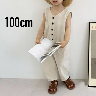 シマムラ(しまむら)の新品 送料無料 韓国 子供服 オーバーオール 100 アイボリー(その他)
