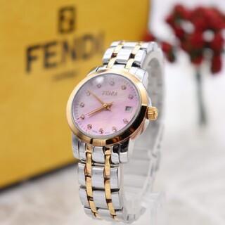 フェンディ(FENDI)の正規品【新品電池】FENDI 2100L/ダイヤ11P ピンクゴールド 動作良好(腕時計)