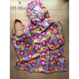 キッズフォーレ(KIDS FORET)の丸高衣料 花柄ピンクカッパ(収納袋付き)Sサイズ(レインコート)