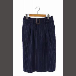 ポロラルフローレン(POLO RALPH LAUREN)のポロ ラルフローレン POLO ストライプスカート ミモレ タイト 2 紺(ロングスカート)