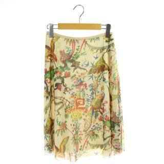 ヴィヴィアンタム(VIVIENNE TAM)のヴィヴィアンタム 孔雀柄スカート 膝丈 フレア 総柄 1 アイボリー (ひざ丈スカート)
