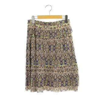 ヴィヴィアンタム(VIVIENNE TAM)のヴィヴィアンタム 幾何学模様ティアードスカート 膝丈 台形 総柄 1 茶(ひざ丈スカート)