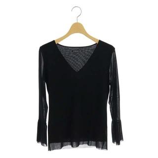 ヴィヴィアンタム(VIVIENNE TAM)のヴィヴィアンタム ブラウス Vネック チュール 長袖 40 黒 ブラック(シャツ/ブラウス(長袖/七分))