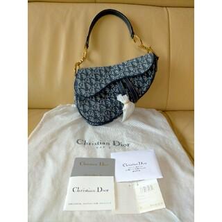 クリスチャンディオール(Christian Dior)の☆美品☆クリスチャンディオール サドルバッグ ネイビー×ゴールド (ハンドバッグ)