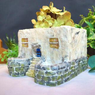 青い扉 グレー 植木鉢 モルタル鉢 セメント鉢 ガーデニング雑貨(プランター)