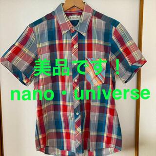 ナノユニバース(nano・universe)の超美品です!nano・universe クレージーパターンチェックコットンシャツ(シャツ)