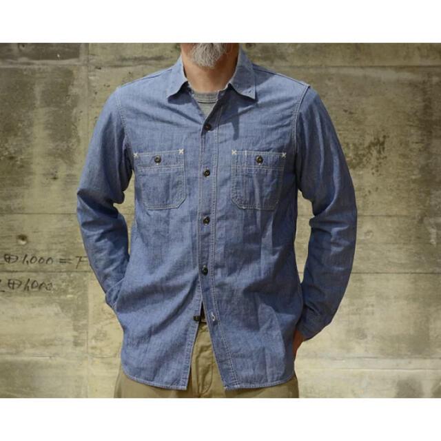 "FREEWHEELERS(フリーホイーラーズ)のFREEWHEELERS ワークシャツ ""Neal""  インディゴ・シャンブレー メンズのトップス(シャツ)の商品写真"