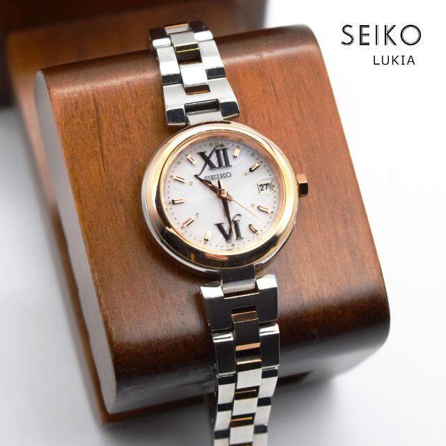《美品》seiko lukia 腕時計 ピンクゴールド 電波ソーラー デイト