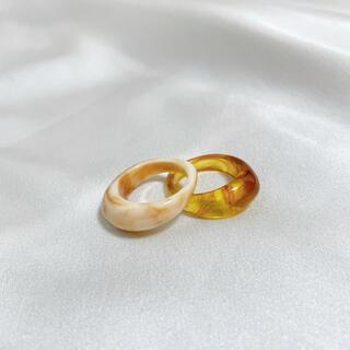 リング レディース 韓国 樹脂 レジン アクセサリー ベッコウ おしゃれ 指輪 (リング(指輪))