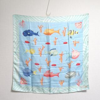 ブルガリ(BVLGARI)のBVLGARI ブルガリ★シルク 大判スカーフ 魚 FISH柄 水色 86×86(バンダナ/スカーフ)