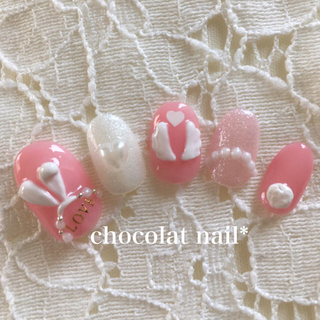 MERY掲載❣️ぷっくり3D♡うさ耳⋆天使の羽⋆もこもこシッポ♡ガーリーネイル♡ コスメ/美容のネイル(つけ爪/ネイルチップ)の商品写真