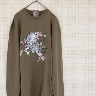 トライチ(寅壱)の是空 ZEKU 虎刺繍Tシャツ ロングTシャツ スウェット トレーナー 寅 和柄(Tシャツ/カットソー(七分/長袖))