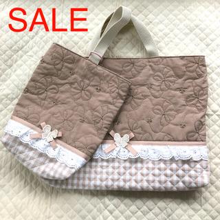 リボン刺繍キルティング レッスンバッグ 上靴入れセット ハンドメイド(外出用品)