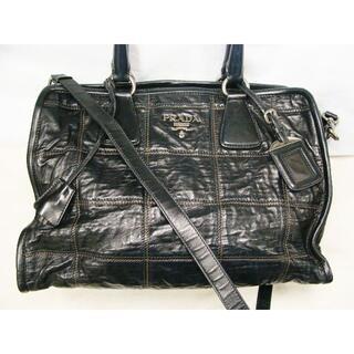 プラダ(PRADA)のプラダ羊皮革アンティークレザー加工2WAYキルティングステッチショルダーバッグ鞄(トートバッグ)