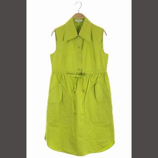 カルヴェン(CARVEN)のカルヴェン ノースリーブワンピース 膝丈 コットン 38 黄緑 ライム(ひざ丈ワンピース)