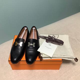 エルメス(Hermes)のHERMES モカシン パリ ローファー 黒 サイズ 36(ローファー/革靴)