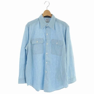 マディソンブルー ハンプトン シャンブレーシャツ 長袖 胸ポケット 01 水色