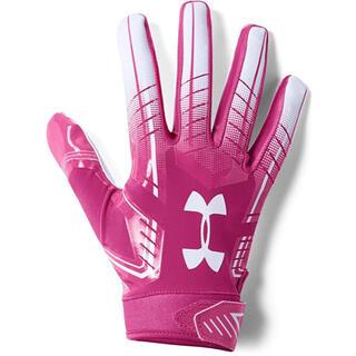 アンダーアーマー(UNDER ARMOUR)のアメフト アンダーアーマー  グローブ F6 ピンク MDサイズ 【新品】(アメリカンフットボール)