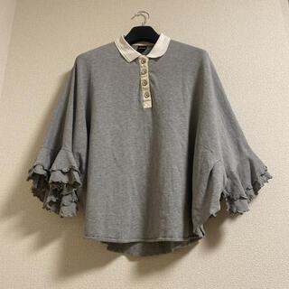 ダブルスタンダードクロージング(DOUBLE STANDARD CLOTHING)の大きいサイズ!DOUBLE STANDARD  ポンチョ型裾袖フリルトップス(カットソー(半袖/袖なし))