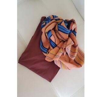 トゥモローランド(TOMORROWLAND)のマニプリ2021シルク×綿stole未使用オレンジ系(ストール/パシュミナ)