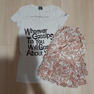 プーラフリーム(pour la frime)の2点セット☆プーラフリームスカート(未使用品)・Tシャツ(ひざ丈スカート)
