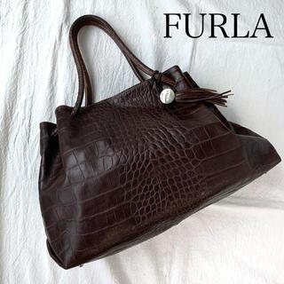 フルラ(Furla)の値下げ❗️FURLA フルラ クロコ型押し ハンドバッグ A4可 焦茶(ハンドバッグ)
