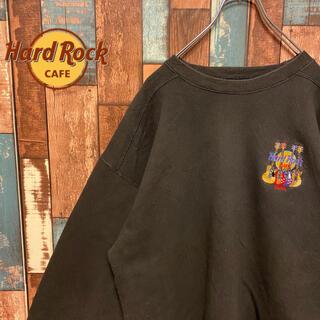 ロックハード(ROCK HARD)の【USA製】ハードロックカフェ トレーナー大人気 刺繍ロゴ ワンポイント ギター(スウェット)
