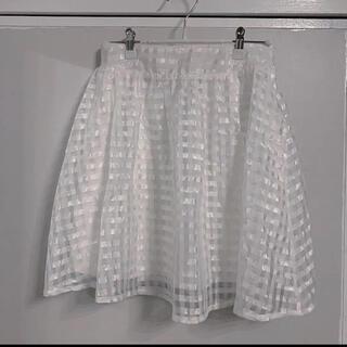 シースルースカート 白 チェック柄(ミニスカート)