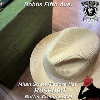 ボルサリーノ(Borsalino)のDOBBS★ドブズ・ローズバッド・バタークリーム58CM【ミランストロー】(ハット)