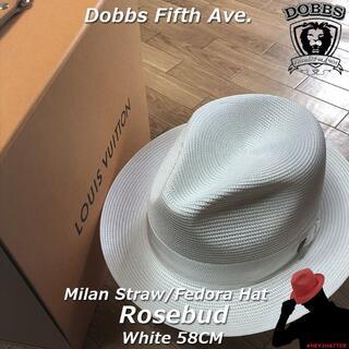 ボルサリーノ(Borsalino)のDOBBS★ドブズ・ローズバッド・ホワイト58CM【ミランストロー】(ハット)
