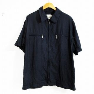 アクアスキュータム(AQUA SCUTUM)のアクアスキュータム シャツ 半袖 綿×麻 ジップアップ ネイビー 紺 L(シャツ)