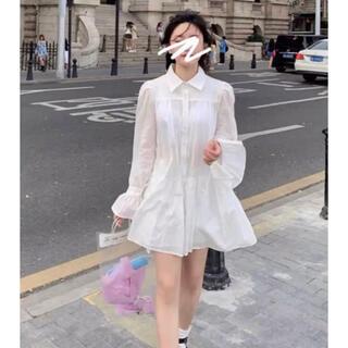 シャツ ワンピース ホワイト 長袖 ZARA 韓国人気(ロングワンピース/マキシワンピース)