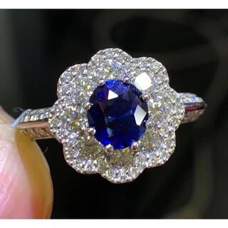 ☆送料込☆上品繊細1.016ctサファイア1.0ctダイヤモンドpt900リング(リング(指輪))