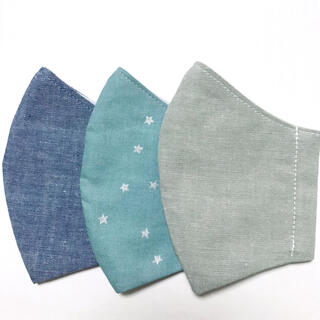 キッズ インナーマスク3枚セット シルバースター 無地 ハンドメイド 男の子(外出用品)