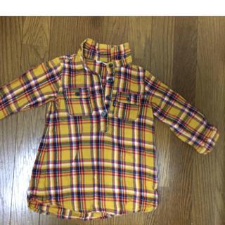 サンカンシオン(3can4on)の【超美品】3can4on Aラインチェック柄シャツ 95㎝(Tシャツ/カットソー)