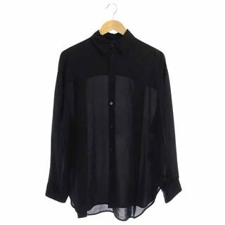 バレンシアガ(Balenciaga)のバレンシアガ シルクシアーシャツブラウス シャツ 長袖 前開き 34 黒(シャツ/ブラウス(長袖/七分))