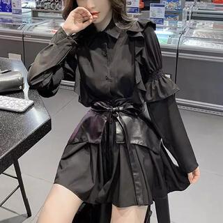 アメリヴィンテージ(Ameri VINTAGE)の韓国ファッション♡ウエストベルト付♡ティアードフリルワンピース♡ゴシック♡量産型(ミニワンピース)
