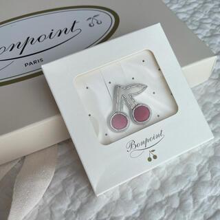 Bonpoint - ボンポワン チェリー ブローチ ホワイト×ピンク