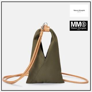 エムエムシックス(MM6)のレア★マイソンマルジェラMM6ミニレザーハンドバッグ/ストラップ付カーキ2WAY(ハンドバッグ)