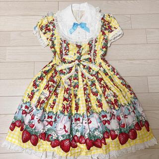 Angelic Pretty Ribbon berry bunny op うさぎ(ひざ丈ワンピース)
