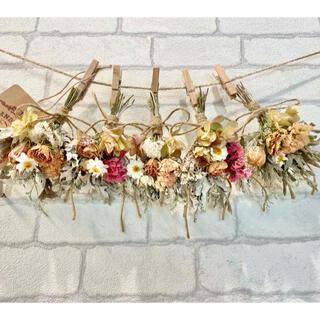 ドライフラワー スワッグ ガーランド❁352 ナチュラル薔薇 あじさい白 花束(ドライフラワー)