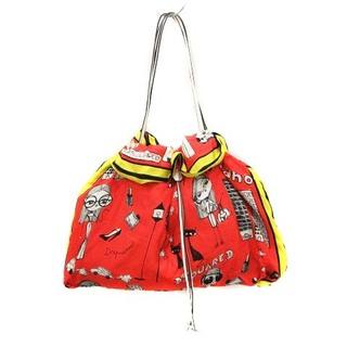 ディースクエアード(DSQUARED2)のディースクエアード トートバッグ ハンドバッグ シルク 総柄 赤 黄色 白(トートバッグ)
