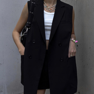 ACLENT  Double breast color vest  (チェスターコート)