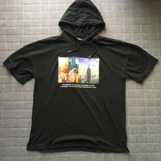 ウィゴー(WEGO)のメンズ 半袖 パーカー 黒 WEGO H&M(Tシャツ/カットソー(半袖/袖なし))