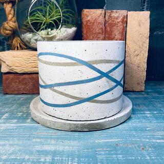 プランター 植木鉢 セメント ブルー(プランター)