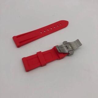 オフィチーネパネライ(OFFICINE PANERAI)の送料無料交換用時計ラバーベルトパネライ互換品ラグ幅24mm D赤(ラバーベルト)