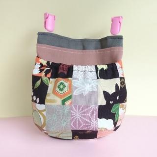 猫 フタなし 移動ポケット オレンジ × ピンク、北欧風 水色 (外出用品)