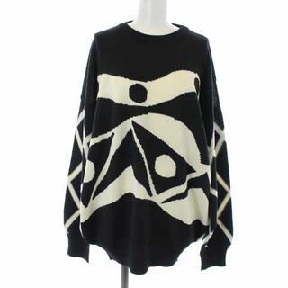 ジャンニヴェルサーチ(Gianni Versace)のジャンニヴェルサーチ ヴェルサーチェ ニット セーター 長袖 L 黒 白(ニット/セーター)