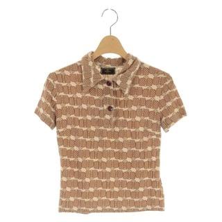 フェンディ(FENDI)のフェンディ ポロシャツ 半袖 総柄 バッグ柄 ズッカ柄 40 ベージュ /MF(ポロシャツ)